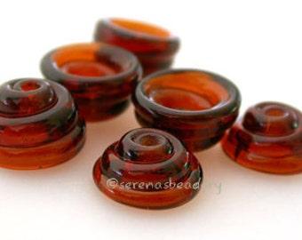Lampwork Glass Bead Cone Caps DARK AMBER Brown Handmade - taneres