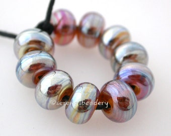 AUREA gold amber luster mini Handmade Lampwork Spacer Beads - taneres