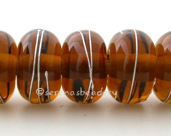 MAPLE BROWN with Fine Silver Wraps - Handmade Lampwork Glass Beads - TANERES - 11 mm
