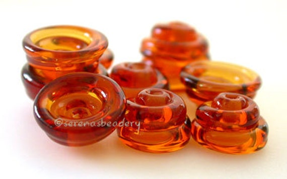 Lampwork Bead Cone Caps 10 Honey AMBER Handmade Glass - serenasbeadery