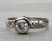 Sweet Moissanite and 950 Palladium Engagement or Wedding Ring - Eco-Friendly Diamond Alternative - Made To Order