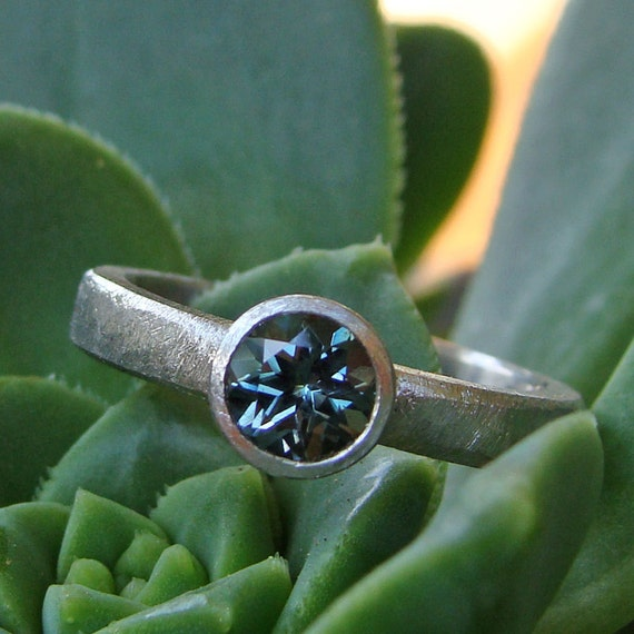 Fair Trade Teal Blue Green Sapphire and Recycled 950 Palladium Ring - Alternative Engagement or Wedding Ring - Size 5.75