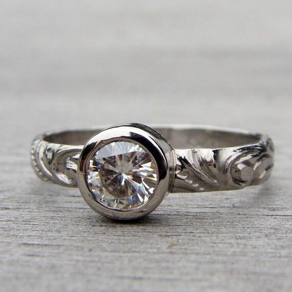 Sweet Moissanite and 950 Palladium Engagement or Wedding Ring - Eco-Friendly Diamond Alternative - Made To Order