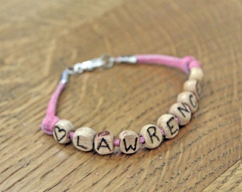 Wood Name Bracelet with Date of Birth Leather Suede strap Wood Letters Free Hand Burnished Heart Monogram Initials Bracelet