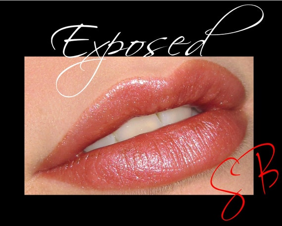 Exposed Mineral Lipstick (Light brown base nude topped with pink shimmer, gives a mauve look) makeup Cheek and Lip Color
