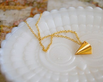 Paper plane necklace- gold plate origami charm- vintage inspired- childhood dreams-airplane