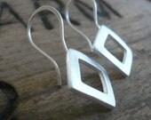 Modesty Earrings. Diamond - Handmade. Brushed fine silver