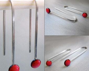 MicroDot Enamel Earrings, Cherry Red Kiln-fired Glass Enamel and Sterling Silver
