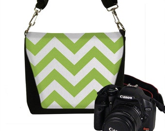 CLEARANCE Chartreuse Chevron Camera Bag Small Padded Dslr Camera Bag Mini Slr Camera Bag Purse white lime green chevron RTS
