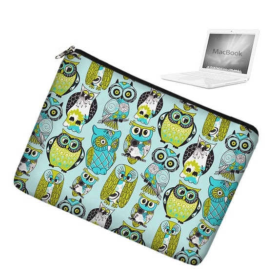 "CLEARANCE Laptop Sleeve 13 inch Macbook Pro 13"" Laptop Bag Macbook Laptop Case Mac Cover padded zippered - Cute Owl blue green (RTS)"