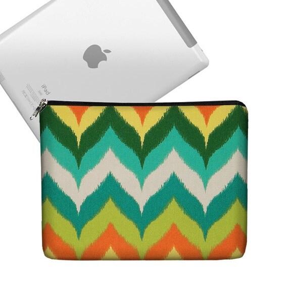 CLEARANCE iPad Air Case, Cute iPad Cover Fabric, iPad Sleeve Padded, iPad Bag Case, New iPad 3 Cover Case  - Chevron Teal Orange (RTS)