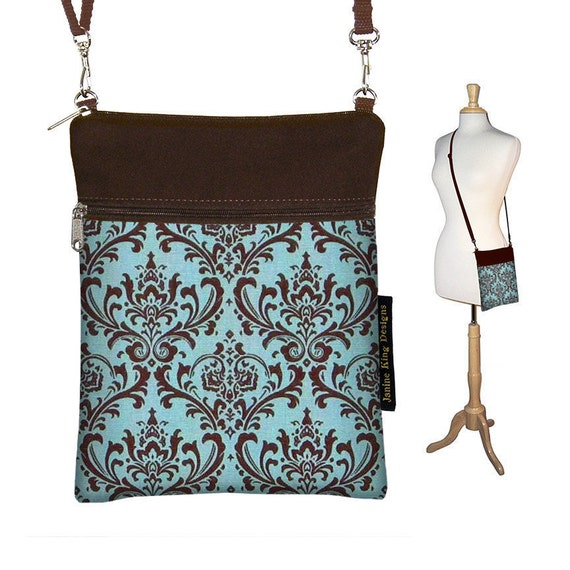 CLEARANCE Sling Bag Shoulder Purse Cross Body Bag Small Travel Purse Zipper Fits eReaders - Madison Damask Blue Brown (RTS)