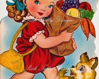 A Little Girls Groceries 1950s Vintage Greetings Card Digital Download Printable Images (302)