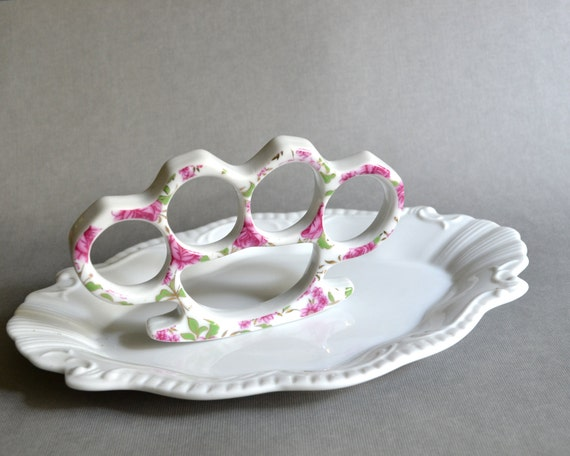 China Knuckles - Pink and Gold Floral Porcelain