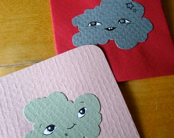 2 red handdrawn Cloud lovenotes - 100% upcycled vintage paper