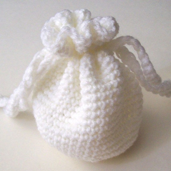 Crochet Drawstring Bag : Crochet Drawstring Bag White Pouch On Etsy by HCKCrafts on Etsy
