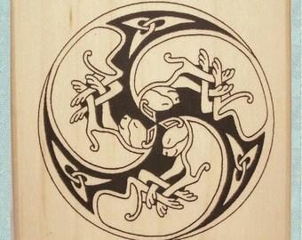Celtic Cat Spiral Rubber Stamp Knotwork Trio #374