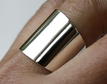 Wide Ring, Large Band Cuff Ring, Sterling Silver Ring