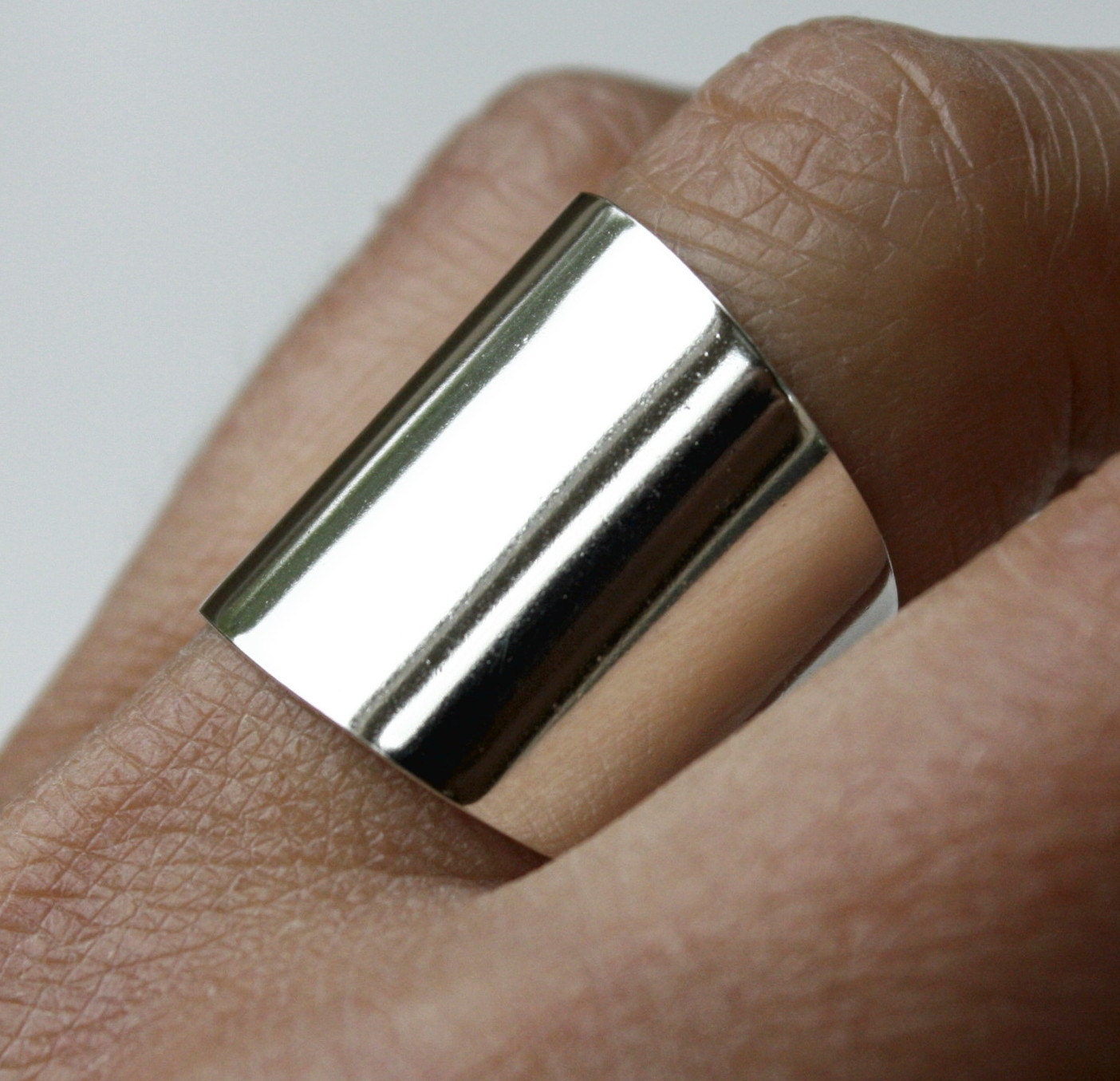 wide sterling silver ring cuff ring large silver ring tube. Black Bedroom Furniture Sets. Home Design Ideas