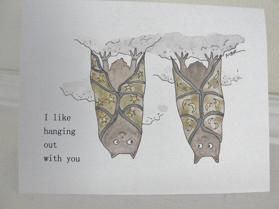 Romantic Halloween Card, Halloween Card for Friend, Cute Bat Halloween Card, Halloween Bats, Punny Halloween Card, Halloween Pun
