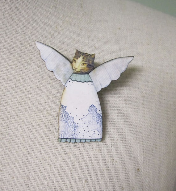 Cat Angel Brooch Pin ,  Animal Pin , Angel Brooch Pin , Collage Jewelry , Mixed Media Jewelry