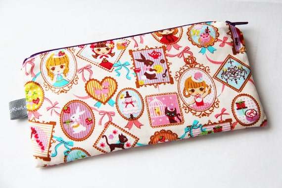 Pencil case - zipper pouch - dolls - rabbits - cats - pink - purple - back to school - Alice - Hello Dolly - Easter