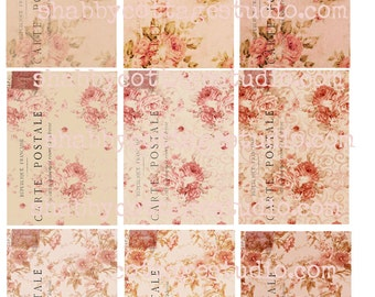 INSTANT DOWNLOAD DIGITAL aTc Backgrounds Tags Shabby Floral French Postcards