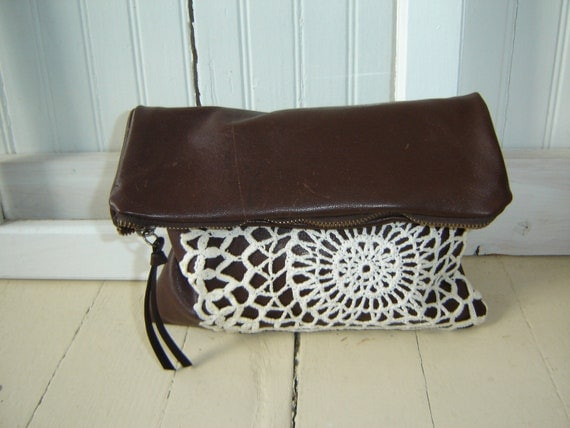 Leather Lace Clutch Purse/Pouch Fold Over Clutch