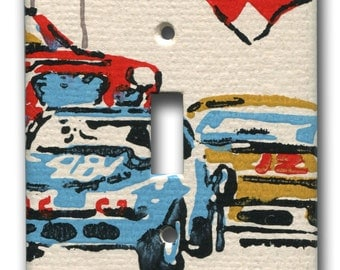 Single Switch Plate 1970's Vintage Wallpaper Checkered Flag Motorsport