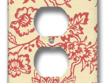 Red and White Floral Single Outlet Plate 1960's Vintage Wallpaper