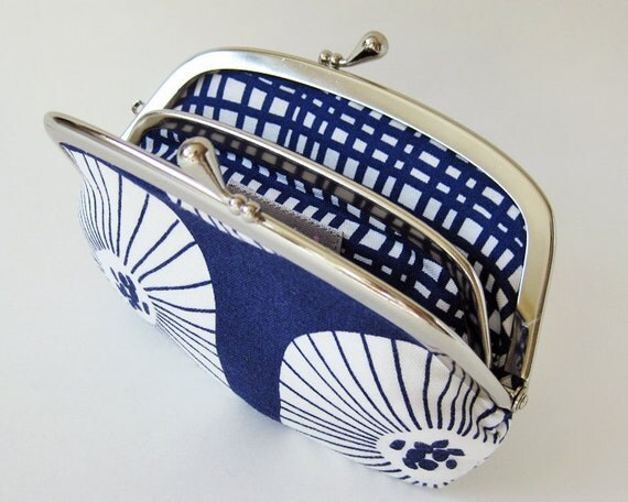 Coin purse / wallet - white flowers on navy blue