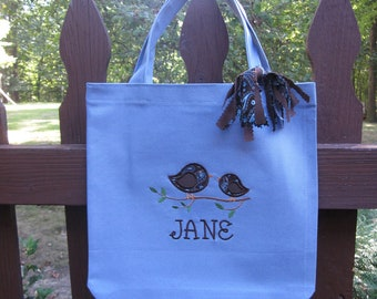 TOTE BAG Mod Little Birds Custom Designed and Personalized Big Kid Tote