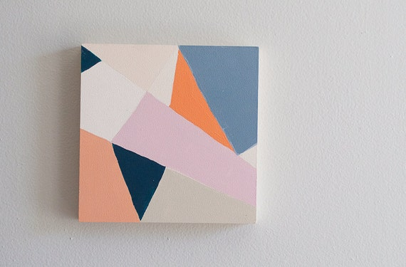 6x6 Original Painting / Abstract Angles 1 / Navy / Peach / Orange / Pink / Mint
