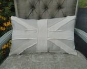 Neutral British Union Jack Throw Pillow