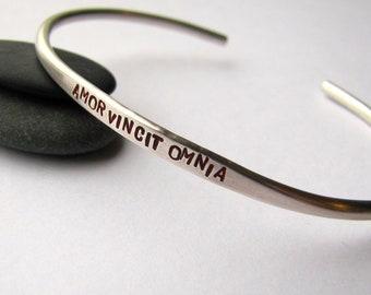 Amor Vincit Omnia sterling silver bracelet - made to order