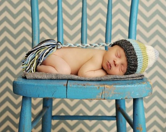 Newborn Knit Baby Hat BaBY PHoTO PRoP Boy Girl SToCKiNG HAT Tassel BeANiE Long Tail FCN PRECiOuS CaP Grey Aqua Celery Cream Stripe ToQUe