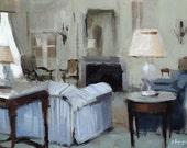 Art Print Living Room Interior Blue - Blue Striped Sofa by David Lloyd