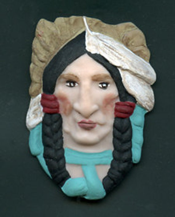 Polymer Clay American Indian Chief  Face Cab Detailed ICHF 1