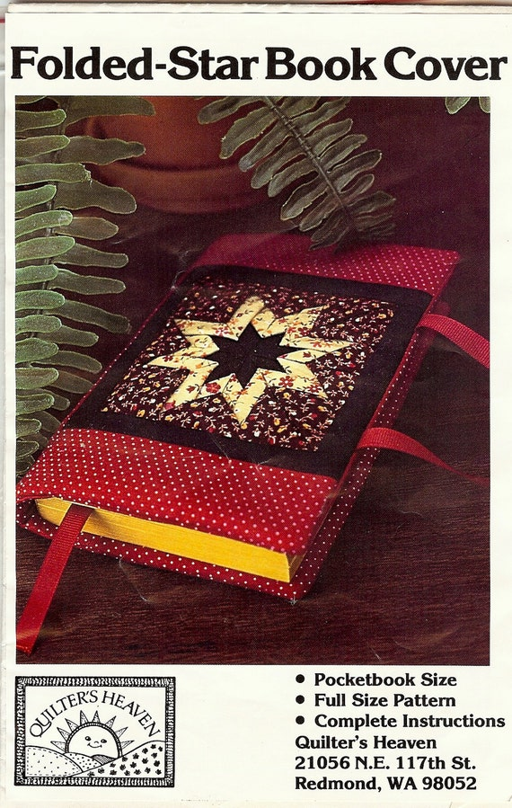 Fabric Book Cover Template : Folded star fabric book cover pattern