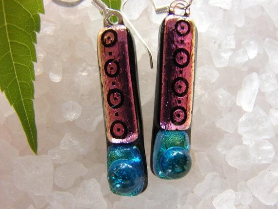 Dichroic Glass Earrings- Pink Glass Earrings- Fused Glass Dichroic Earrings- Mosaic Pattern Glass- California Corn Lily Wildflower Earrings