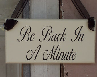 Whimsical Shabby Farmhouse Cottage Wood Vinyl Sign Ribbon Be Back In A Minute Business Office Supply Sign Door Hanger Massage Health Beauty