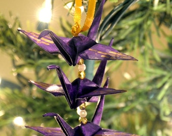 Gold Bamboo on Grape Purple Origami Crane Trio Christmas Tree Ornament Holiday Decoration