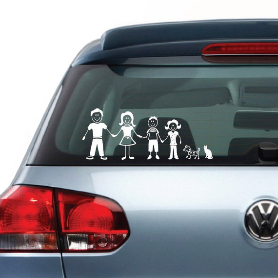 """Family Figures Vinyl Decal Sticker Clings for Car Truck Van Vehicle Window . Size 9"""".  N2000. Check my store for different sizes."""