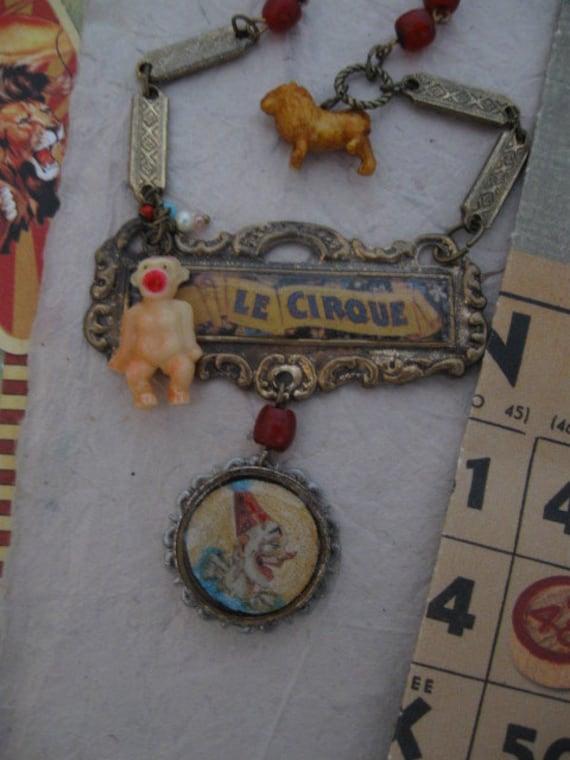Big Top Celebration... antique and vintage repurposed circus necklace