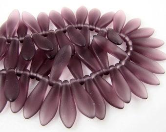 CLOSEOUT SALE for Czech Glass Dagger Beads - Matte Amethyst 5/16mm  (25)