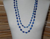 Vintage Cascading 2-Strand Rich Blue & Clear Lucite Necklace with Silver Accents