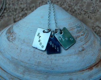 Hand Stamped Mother's Tag Necklace