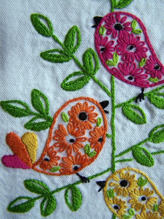 Hand Embroidery - Bright Retro Birds Tea Towel