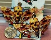 Skull on Death Moth earrings