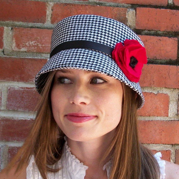Cloche Hat Womens Hat - Black and White Wool houndstooth hat with flower  MADE TO ORDER